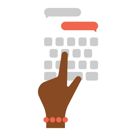 Users hands on keyboard and mouse of computer. Desk office worker keyboard hands concept. Computer, internet, typing. Flat style design keyboard hands vector illustration. Modern concept programmer.