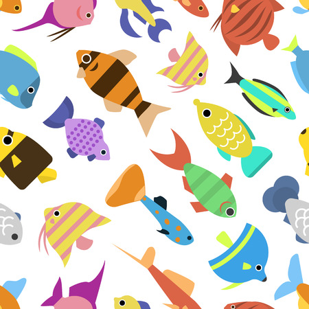 small group of objects: Cute fish vector illustration icons seamless pattern. Fish flat style vector illustration. Tropical fish, sea fish, aquarium set isolated on white background. Seamless design