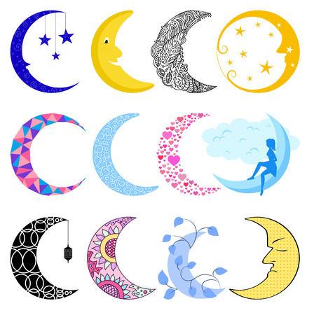 penumbra: Different moon nature cosmos cycle satellite surface. Whole cycle from new moon month to full surface star astrology sphere. illustration moon month astronomy space lunar.