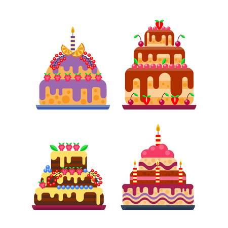 porcion de pastel: Pie de aislados tarta de cumpleaños del vector. Boda o la torta de cumpleaños dulce de postre tarta casera. pastel de crema brownie rematado pastel aislado en blanco
