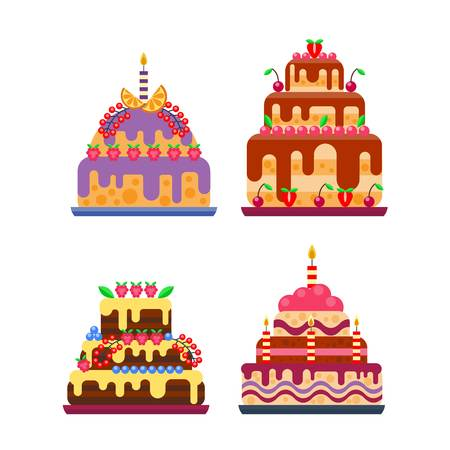 piece of cake: Pie for birthday isolated cake vector. Wedding or birthday cake sweet dessert homemade pie. Cream brownie cake topped pie isolated on white Illustration
