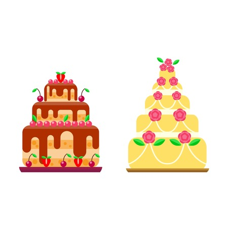 Pie for birthday isolated cake vector. Wedding or birthday cake sweet dessert homemade pie. Cream brownie cake topped pie isolated on white Illustration