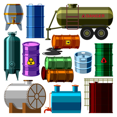 brent crude: Stack different oil drums container liquid cask storage object. Rows of steel barrels capacity tanks. Natural wooden barrel capacity tanks. Wine old beverage alcohol barrel capacity tanks vector set.