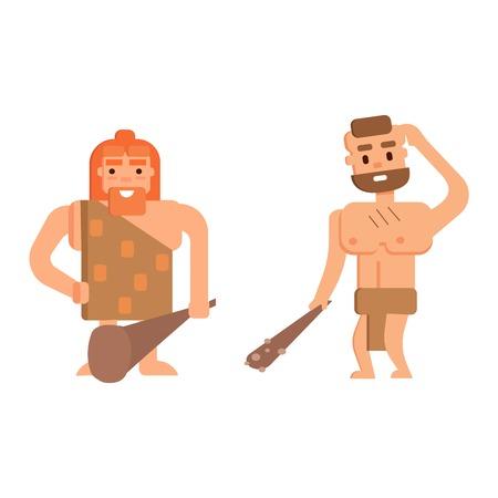 australopithecus: Caveman primitive stone age cartoon neanderthal people. Caveman cartoon action neanderthal evolution vector. Stone age people vector Illustration