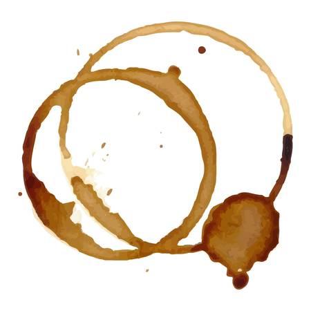 Kaffee staiin Flecken spritzt Tasse Vektor isoliert auf weißem Hintergrund. Kaffeeflecken splash Vektor. Standard-Bild - 64835962
