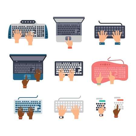 computer keyboard: Users hands on keyboard and mouse of computer. Desk office worker keyboard hands concept. Computer, internet, typing. Flat style design keyboard hands vector illustration. Modern concept programmer.