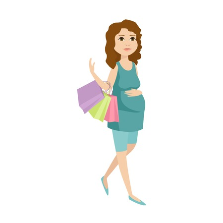expectant: Young pregnant woman, pregnancy female expecting beautiful future mother character vector. Pregnant woman lifestyle and lifestyle happy mathernity woman. Love parent motherhood. Illustration