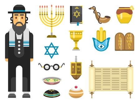 simchat torah: Jewish holidays icons israeli holidays Hanukah, Purim, Pesach, Sukkot, Rosh Hashanah, Shavuot, Simchat-Torah. Jew icons traditional illustration hanukkah. Religious symbol jew icons synagogue culture.