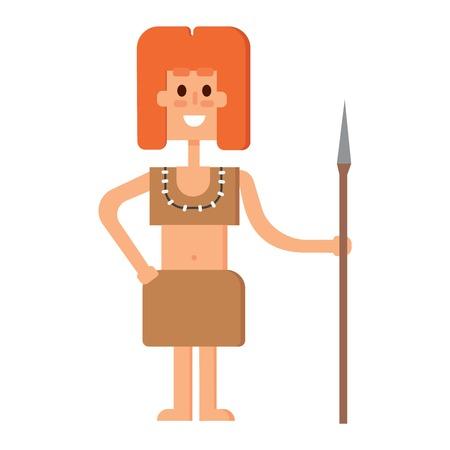 Caveman primitive stone age cartoon neanderthal people. Caveman cartoon action neanderthal evolution vector. Stone age people vector Illustration