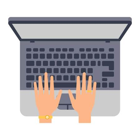 hands on keyboard: Users hands on keyboard and mouse of computer. Desk office worker keyboard hands concept. Computer, internet, typing. Flat style design keyboard hands vector illustration. Modern concept programmer.