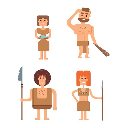 anthropology: Caveman primitive stone age cartoon neanderthal people. Caveman cartoon action neanderthal evolution vector. Stone age people vector Illustration