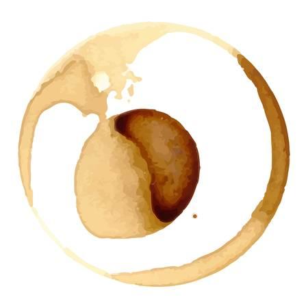 Kaffee staiin Flecken spritzt Tasse Vektor isoliert auf weißem Hintergrund. Kaffeeflecken splash Vektor. Standard-Bild - 64984055