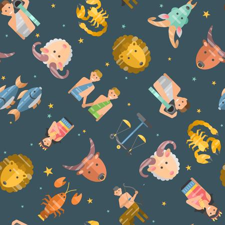 Zodiac signs flat seamless pattern of horoscope symbols star collection. Astrology zodiac icons set horoscope vector aquarius libra capricorn. Zodiac icons astrological calendar design Illustration