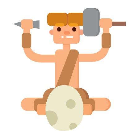mankind: Caveman primitive stone age cartoon neanderthal people. Caveman cartoon action neanderthal evolution vector. Stone age people vector Illustration