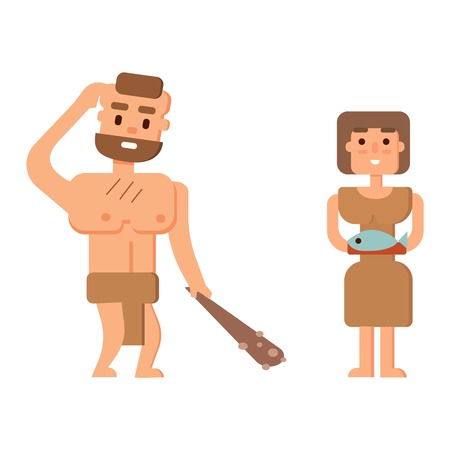 homo erectus: Caveman primitive stone age cartoon neanderthal people. Caveman cartoon action neanderthal evolution vector. Stone age people vector Illustration