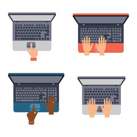 typing: Users hands on keyboard and mouse of computer. Desk office worker keyboard hands concept. Computer, internet, typing. Flat style design keyboard hands vector illustration. Modern concept programmer.