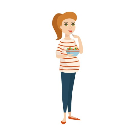 awaiting: Young pregnant woman, pregnancy female expecting beautiful future mother character vector. Pregnant woman lifestyle and lifestyle happy mathernity woman. Love parent motherhood. Illustration