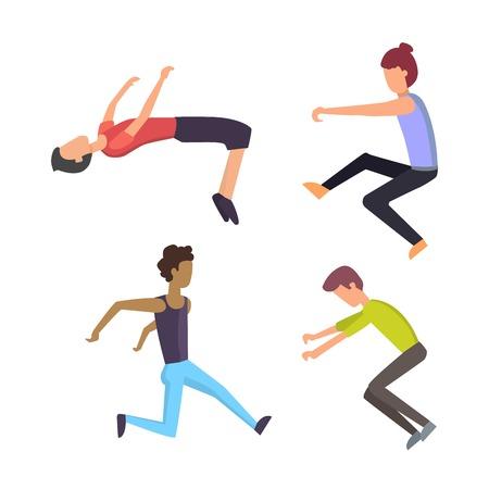 Parkour trick people extreme sport cartoon vector silhouette or city sport parkour trick people pose, parkour flat trick vector people jump, fall tricks. Vektoros illusztráció