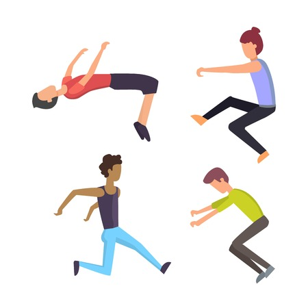 personas parkour trick plantean gente extrema deporte de dibujos animados vector de la silueta de la ciudad o el deporte del parkour trick, la gente parkour trick plana vector saltan, caen trucos. Ilustración de vector
