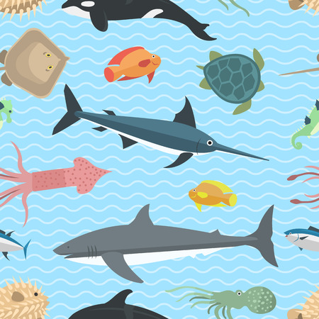 aquatic life: Vector set of cute sea animals seamless pattern creatures characters. Cartoon ocean underwater crab sea animals. Cute aquarium life water collection isolated turtle graphic aquatic tropical sea life Illustration