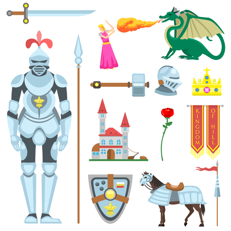 legendary: Heraldic knight symbols and elements vector set. Medieval kingdom legendary armored knight symbols warrior with lance and knight symbols attributes flat icons set abstract isolated vector.