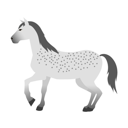 Ccartoon horse on white background. Cartoon horse vector illustration. Cute cartoon horse farm animals happy mane stallion character design.