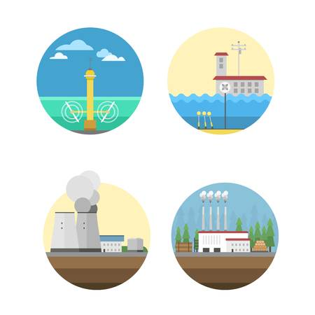 power icon: Different types of power and energy sources generation including wind, solar, hydro or water dam and other. Energy sources renewable or sustainable and energy sources power plants.