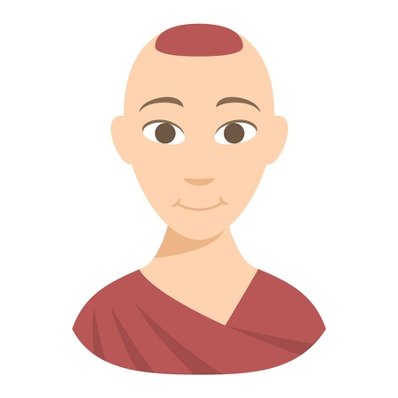 in monastery: Buddhist monk meditating isolated. Cartoon design traditional religious monk in orange theravada. Flat vector monk meditation illustration. Buddhist monk person icon religion thailand temple culture.