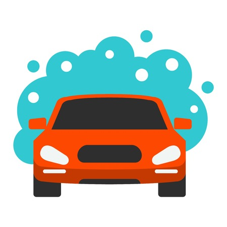 dirty car: Carwash automatic service business symbol and dirty car wash garage service. Automatic car wash facilities innovative self service car foaming brush unit equipment icon