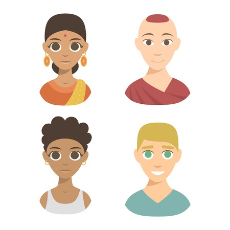 nationalities: Group people nationality race at work teamwork avatars. Flat design characters people nationality race. Set diverse avatars people nationality race. Different nationalities, clothes and hair styles.
