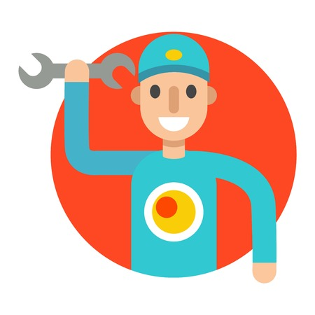 serviceman: Serviceman builder professional and serviceman worker maintenance repair. Service man occupation fixing mechanic worker. Repair serviceman repair cartoon character vector Illustration