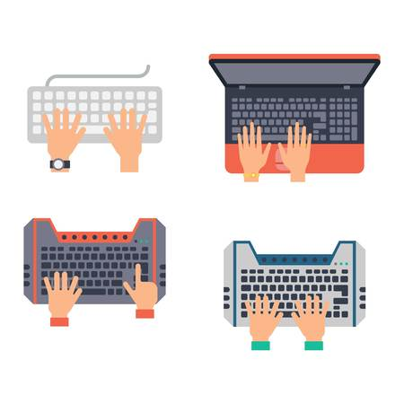 typing on keyboard: Users hands on keyboard and mouse of computer. Desk office worker keyboard hands concept. Computer, internet, typing. Flat style design keyboard hands vector illustration. Modern concept programmer.
