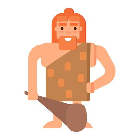 homo: Caveman primitive stone age cartoon neanderthal people. Caveman cartoon action neanderthal evolution vector. Stone age people vector Illustration