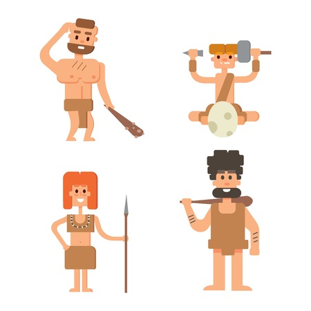 Caveman primitive stone age cartoon neanderthal people. Caveman cartoon action neanderthal evolution vector. Stone age people vector Illustration