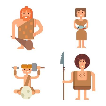 primates: Caveman primitive stone age cartoon neanderthal people. Caveman cartoon action neanderthal evolution vector. Stone age people vector Illustration