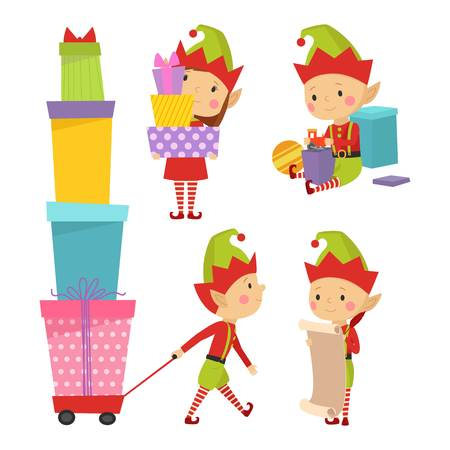 elf's: Santa Claus kids cartoon elf helpers vector illustration. Santa Claus elf helpers children. Santa helpers traditional costume. Santa family elfs isolated on background. Santa Claus elf, christmas kid