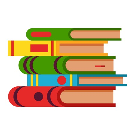 Book in flat design style illustration. Academic book learning symbol, reading school sign. Knowledge design isolated science university text book cover information.
