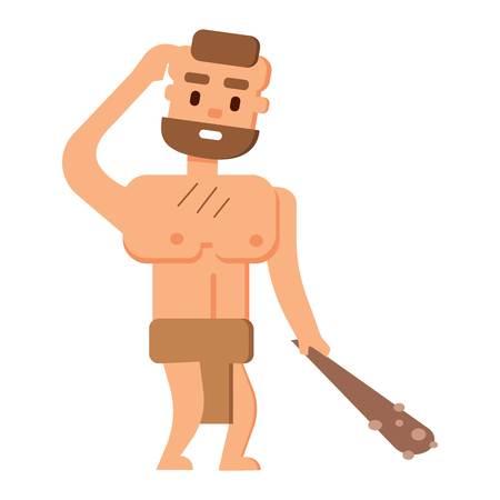 australopithecus: Caveman primitive stone age cartoon neanderthal people. Caveman cartoon action neanderthal evolution.