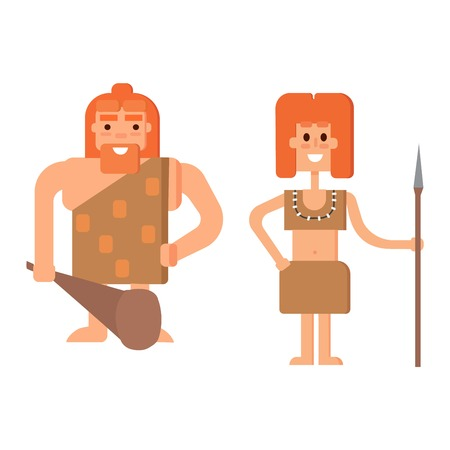 australopithecus: Caveman primitive stone age cartoon neanderthal people.