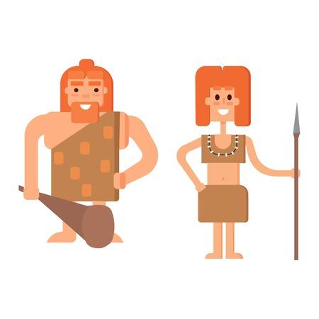 Caveman primitive stone age cartoon neanderthal people.