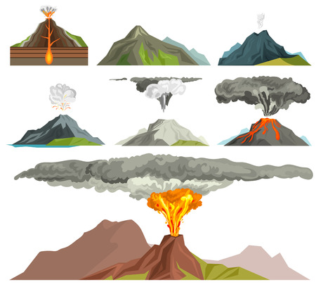 Volcano magma nature blowing up with smoke isolated