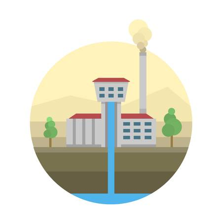 hydro electric: Type of power and energy source generation icon. Energy source station building renewable or sustainable and energy source sign