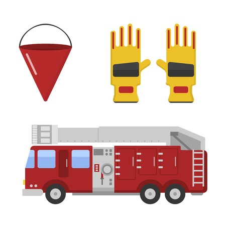Fire truck safety department and fire truck siren transport vector. Detailed illustration of fire truck emergency car cartoon vector illustration in a flat style. Illustration