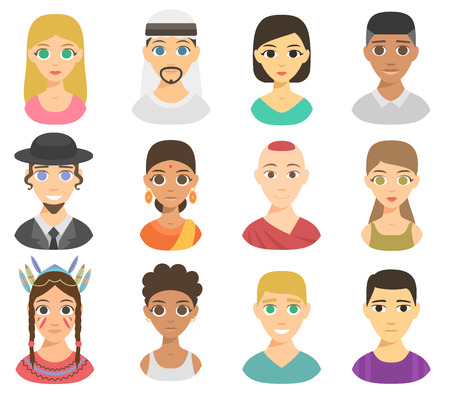 skin tones: Set of cool avatars different nations people portraits. Different skin tones, clothes and hair styles. Modern and simple flat cartoon style different nations people portraits female design set. Illustration