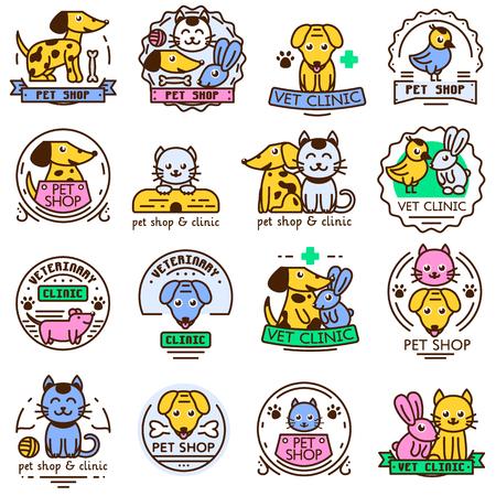Ensemble d'éléments de logo et logotype vintage pour pet shop, maison d'animal de compagnie et de la clinique pour animaux de compagnie. Boutique logo soins de badge bannière emblème Pet. Mignon clinique de marché boutique service animal badge logo icône animal vecteur.