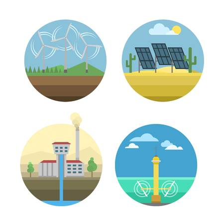 water sources: Different types of power and energy sources generation including wind, solar, hydro or water dam and other. Energy sources renewable or sustainable and energy sources power plants.