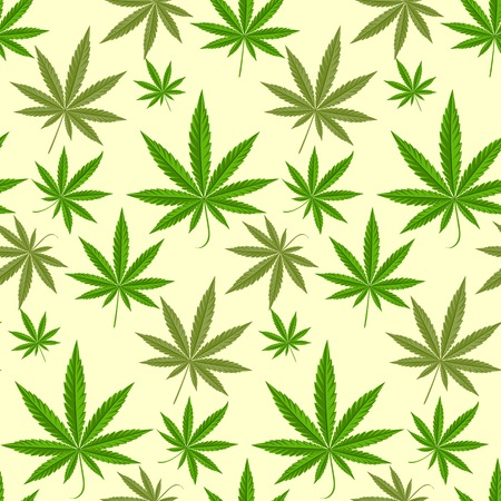 Green marijuana background vector illustration. marihuana background leaf pattern repeat seamless repeats. Marijuana leaf background herb narcotic textile pattern. Different vector patterns. Illustration