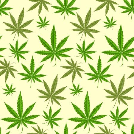 Green marijuana background vector illustration. marihuana background leaf pattern repeat seamless repeats. Marijuana leaf background herb narcotic textile pattern. Different vector patterns. Vettoriali