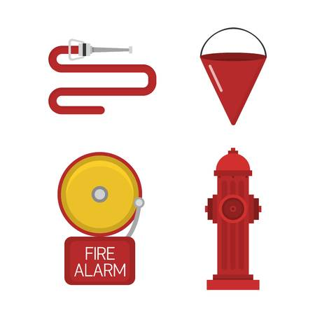 Fire safety equipment and fire safety emergency icons set. Vector set firefighter fire safety flat Icons and symbols. Illustration