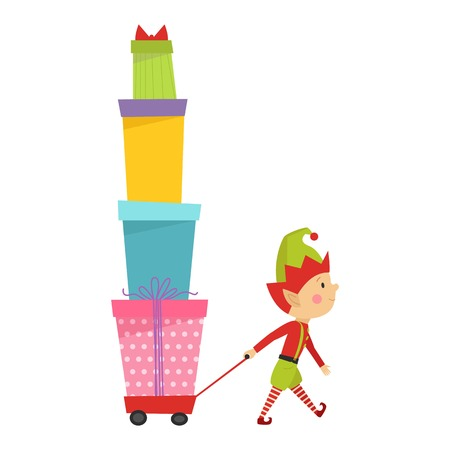 happy family at home: Santa Claus kid cartoon elf helper vector illustration. Santa Claus elf helper children. Santa helper traditional costume. Santa family elf isolated on background. Santa Claus elf, christmas kid Illustration